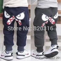 Boy pants Korean foreign trade children's clothing brand cartoon eyes thin fleece pants harem pants breeches TZ18C05