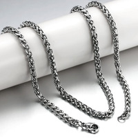 Stainless Steel necklace chain, wheat chain necklace, 4mm and 3mm avaiable, original color, Sold by lot(10 strands/Lot)