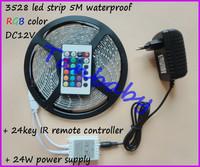 5M RGB Waterproof led strip 3528 SMD DC12V 5M 300led + 24Key RGB led controller + 24W power adapter decoration light