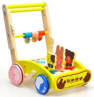 Wooden Toys 0-3 Years Old Baby Walker Toddler Toy Wooden Trolley Walker 1002