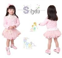 Wholesale 4sets/lot Baby Girls Clothing Sets Toddler Girl's Floral Coat+long T-shirt +Lace Skirt 3PCS Set Girl's Clothing Set
