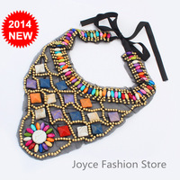 Min Order $10,New 2014 Statement Collar Necklaces,Vintage Exaggerated Retro Geometry Beads Stone Lace Necklace Jewelry,N15