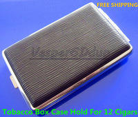 Free Shipping 10pcs Black stripes Cigarette Tobacco Box Case Holder 12pcs
