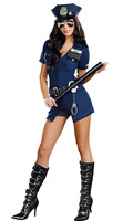 Free shipping Hot Girl Blue Polyester Carnival Police Uniform with Handcuffs  Women Officer Sheila B. Naughty Police Costume