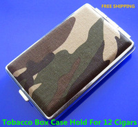 Free Shipping 10pcs Pocket Leather Camouflage Pattern Cigarette Tobacco Box Case Holder 12pcs