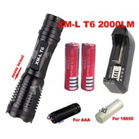 12W 1800 Lumen 7 Mode Zoomable CREE XM-L T6 LED 18650 AAA Flashlight Torch Zoom Lamp Light+2*18650 battery +chrger