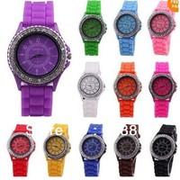 12pcs Fashion Jelly Silicone Classic Gel Crystal Wrist Watch Quartz Lady Girls Mint Green 13 colors Women diamond watch
