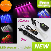2014 popular 6 Leds bubble aquarium light with power adapter 16cm 2w waterproof fish tank marine coral reef grow light 5 colors