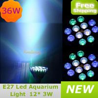 12X3W Epistar LED Fish Tank Light E27 Coral Reef  Aquarium Grow lamp 60 degree Bulb 36W Green White Blue free shipping
