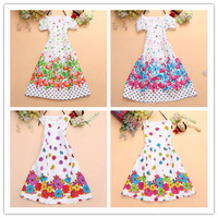 2014 new children clothing Girls Dress cute floral color sleeveless princess dress circle Korean flower butterfly dress