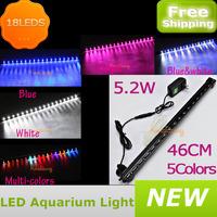 Freeshipping 5.2w 18led aquarium light bar ip68 fish tank led bubble aquarium light lamp dc12v 5 colors
