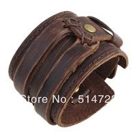 6pcs brown Genuine Cowhide leather Buckle Punk cuff double wide Bracelet Wristband men boys 2014 new