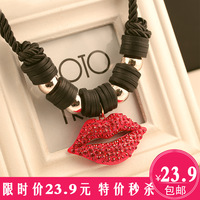 On0099 exaggerated necklace four leaf clover red lips necklace female coarse chain vintage short necklace design