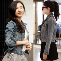 Autumn and winter women water wash denim coat slim denim short jacket