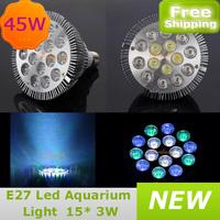 Epistar LED Aquarium Coral Reef Grow Light 45W 60 degree Bulb E27 Fish Tank PAR38 lamp 15X3W Green Blue White free shipping