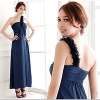 7633 formal dress one shoulder tube top full dress one-piece dress