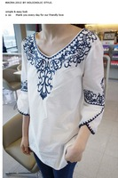 2014 white t-shirt vintage national embroidery blue and white porcelain loose shirt