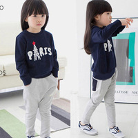 2-3-5-6-9 new arrival 2014 children's girls&boys clothing child female male Eiffel Tower sweatshirt outerwear letter clothes set