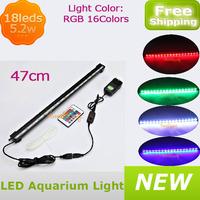 Multicolor 5.2w AC 100-240V 50/60Hz 18led Aquarium light bar fish tank air bubble submersible led light lamp 47cm free shipping