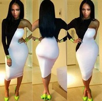New 2014 fashion One shoulder long-sleeved sexy tight night dress dress jumpsuits