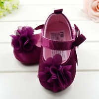 Free shipping Very Cute Red Flower Princess soft baby shoes for girl baby shoe 3 size