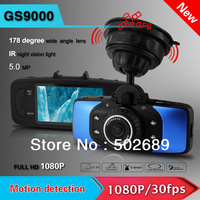 "Freeshipping 2014 Ambarella Newest Original GS9000 2.7"" LCD 178 view Wide Angle Full HD 1920X1080P Car DVR with GPS G-Sensor"