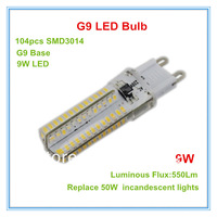 Free Shipping 4pcs G9 led 9W 3014SMD bulb  corn lamp 104led 700LM Warm white white Non-polar LED Bulb Lamps High Lumen