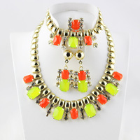 2014 high quality gold plated rhinestone mixed color fashion women wedding  crystal necklace earrings jewelry set free shipping