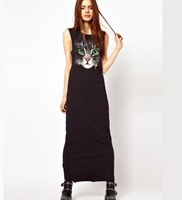 2014 women's Pure and fresh and green eye big cat face photo printed sleeveless dress long sundress