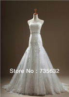 Actual Images Fashion Applique Lace on tulle Strapless wedding dress Sheath Beaded crystals Brush 2014 new Wedding gown