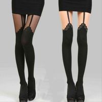 2014 New Fashion  Rose lace Women Mock Suspender Tights European sexy stockings Highly Fashionable Patterned Pantyhose hosiery