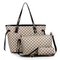 2014  package print women's handbag brie tote handbag 3 piece set messenger bag  FREE SHIPMENT