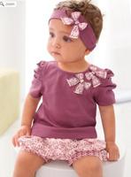 children christmas purple baby girls clothing sets kids flower headband t-shirts shorts pants skirt clothes set Free shipping
