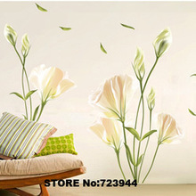 large size 2014 Lily Flower Wall stickers Romatic TV Brackground Removable Vinyl Stickers For Home Decoration wall quotes poster(China (Mainland))
