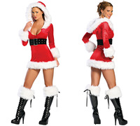 Christmas tunic temptation nightclub DS sexy lingerie sex costumes dress 8592-2 , free shipping