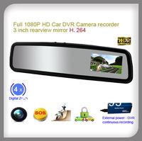 1080P mini hidden car dvr camera built-in 3 inch rear view mirror
