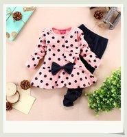 New 2014 Autumn-summer girls clothing,Pink color Long Sleeve T-shirt+Long Pants children clothing set