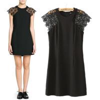 2014 summer fashion patchwork lace short-sleeve slim one-piece dress female skirt