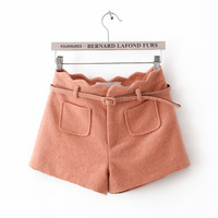 Autumn and winter women's slim high waist scalloped woolen shorts boot cut jeans candy color casual shorts