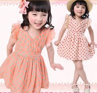 New 2014 Baby Girls Sweet Chiffon Polka Dot Dress 2-5T