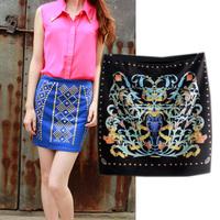 2014 autumn fashion vintage print rhinestones bag skirt half-skirt step skirt female short skirt bust skirt