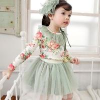 Free Shipping 2014 girls clothing spring and autumn little girl long-sleeve T-shirt gauze short skirt twinset child set