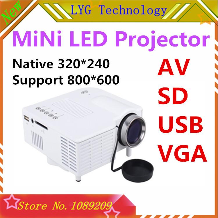 Factory Wholesale new 2014 UC 28 mini LED projector VGA/A/V/USB/SD Native AV LCD Digital Projector English, Korean, Russian(China (Mainland))