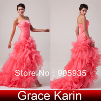 Grace Karin! Fast Delivery The Most Beautiful Prom Wedding Party Bridal Dress, Watermelon CL6072