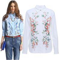 New Fashion Women's Elegant Long Sleeve Turn-down Collar Shirts Flower Printed Cotton Slim OL Blouses Tops CooLba081