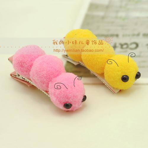 Child hair clips cartoon animal caterpillar hairpin bb clip bangs clip 10pcs/lot(China (Mainland))