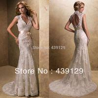 2014 V Neck Ribbon Sash Keyhole Back Full Lace Sheath Wedding Dresses