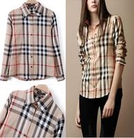 Hot sale Fashion Lattice Blouse Europe Stripe Plaid Printed Lady Vintage Design Long Sleeve Slim Women Shirt Free Shipping