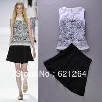 High Street Fashion Ladies' Embroidery Chiffon Vest + Black Mini Skirt