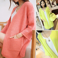 2014 double pocket cutout three quarter sleeve solid color sweater outerwear cardigan